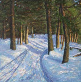 "Snowy Trail, acrylic on canvas, 24"" x 24"", 2008 SOLD"