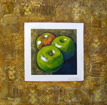"""Three apples, collaged frame; acrylic on texturized canvas, collaged fabrics and papers, 24"""" x 24"""", 2011"""