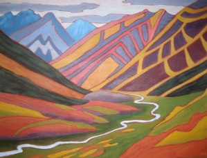 """Yukon Red and Gold, acrylic on canvas, 30"""" x 40"""" SOLD"""