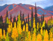 "Yukon in September, acrylic on texturized canvas, 28"" x 36"", 2012"
