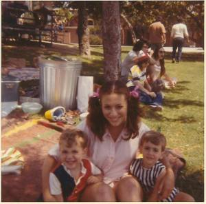 "I look at this picture of me with my boys and remember just how much I loved them. I also remember right about this time saying to their father, ""I don't care if Rick marries someone of a different race or religion but I don't think I could handle it if he were gay."" That was 1972 and Rick was just 3 years old. When I think about it now, I'm reminded that I never said that about Brian, only about Rick. What was it about him at the age of 3 that made me say that? I don't remember any (and I hate to use this term) stereotypical characteristics that would make me think him gay. He didn't play with ""girl"" toys, he had both boy and girl friends. I can't think of one thing that would make me think him gay. And yet somehow I must have known. I was only 23 or 24 years old. I didn't know any people who were gay. At least none that I knew of then. I was unaware of the Stonewall Riots or anything relating to gay rights of the time. I don't think I had any animosity toward gay people back then, I just didn't want my son to be gay. I guess a mother just knows, even when she doesn't want to know. I had forgotten that conversation with his father until many years later when his father, whom he'd never come out to, told him, ""I know you're gay and I don't care. Your mother and I have known since you were three. Ask her about it."" When Rick asked me, I remembered that conversation. Yes, at age three, I suspected he was gay. As I've shared before, when he came out to me I was not surprised. But I didn't remember that statement so many years before. When I look at that picture of my boys, I see the sweetness of their souls, a sweetness they still have today. I realize how blessed I am. Blessed to have a gay son because he opened my heart and led me to my life's purpose. Blessed to have two sons who grew up to be two incredible men."