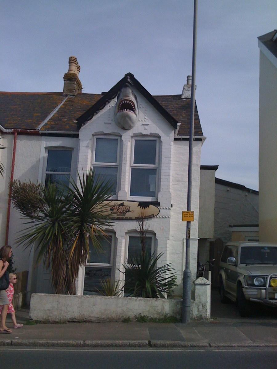House with a shark's head on wall