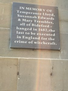 Photo of plaque commemorating The Bideford Witches