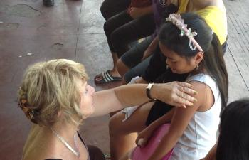 Energy medicine doctor Susan Jamieson working in Tacloban