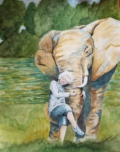 The Wise Ones, illustration of elderly woman with elephant, by Susan Korsnick