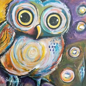 Who Me, a painting of a wide-eyed little owl who doesn't know that he is wise.