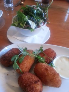 Cheesy Cauliflower Croquettes with green salad