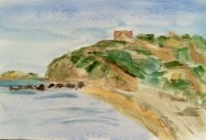 "Thurston House View #2 ©   Watercolor 9"" x 7""  $150 Cuttyhunk Island, Gosnold, MA"