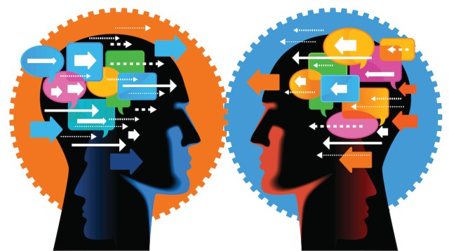 image of two heads in silhouette with multiple arrows and speech bubbles pointing at each other