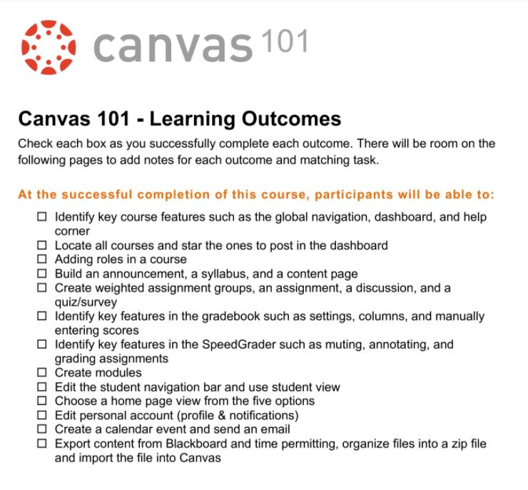 Canvas 101 Handout