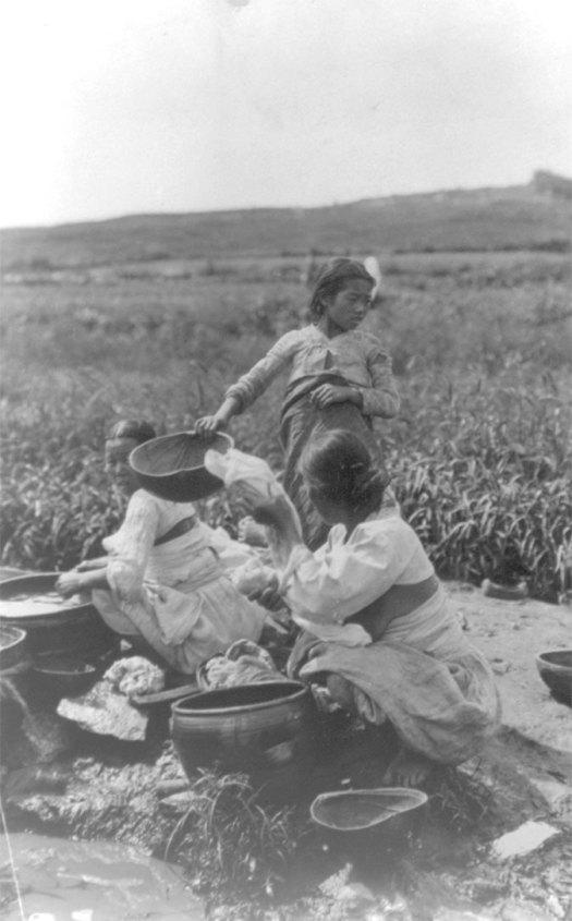 Korean women washing in a river