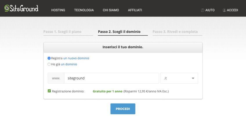Immagine della registrazione del dominio tramite Siteground