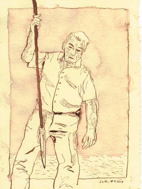 er beobachtete, wie die Haie näher kamen - Zeichnung von Susanne Haun