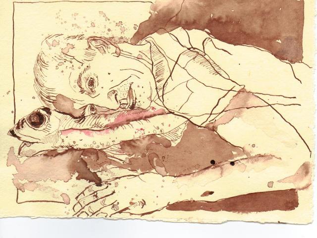Ein abgeschnittenes Stück Makrele - Zeichnung von Susanne Haun