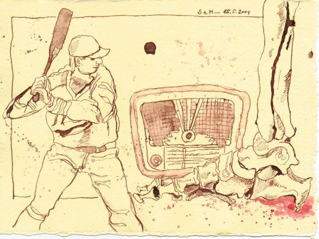 Der große DiMaggio wäre stolz - Zeichnung von Susanne Haun