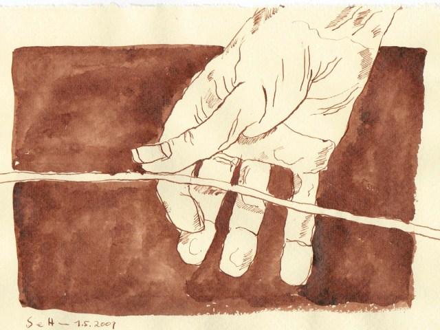 Er hielt sie behutsam zwischen Daumen und Zeigefinger - Zeichnung von Susanne Haun