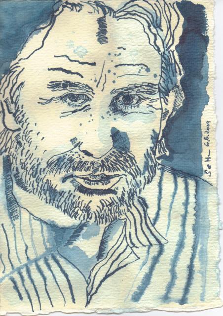 Mauritiusblaues Portrait, Zeichung von Susanne Haun