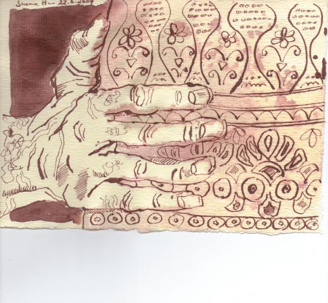 Die Hand des Kelten - Zeichnung von Susanne Haun