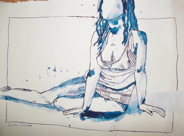 Mauritiusblaue sitzende - Zeichnung von Susanne Haun