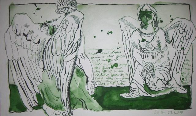 Engel und Dämon - Zeichnung von Susanne Haun