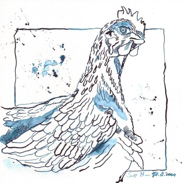 Glückliches Huhn - Zeichnung von Susanne Haun
