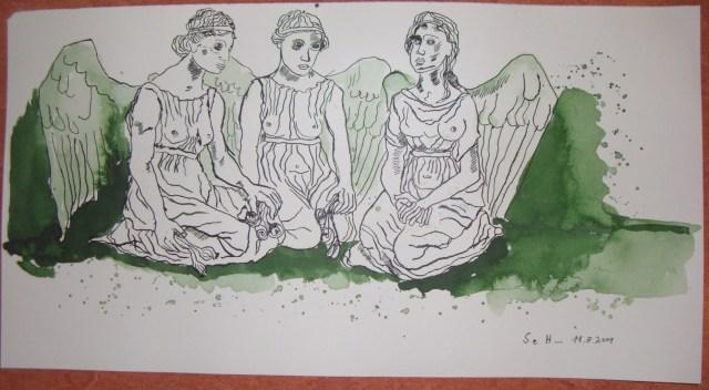 Die drei Engel Grazien - Zeichnung von Susanne Haun
