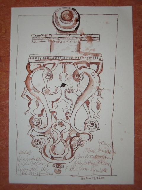 Frühlatènezeitlicher Gürtelhaken - Zeichnung von Susanne Haun