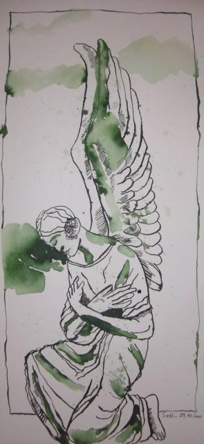 Marmorengel - Zeichnung von Susanne Haun