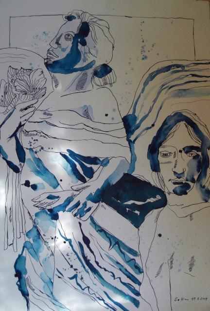 Ein blauer Engel wird kommen - Zeichnung von Susanne Haun