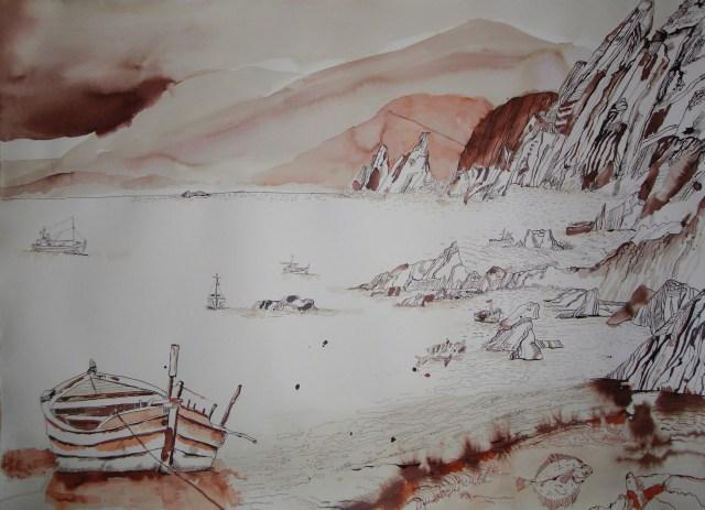 Entstehung Trauminsel II - Zeichnung von Susanne Haun