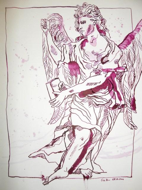 Bewegter Engel - Zeichnung von Susanne Haun