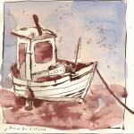 Kleines Boot - Zeichnung von Susanne Haun - 20 x 20 cm - Tusche und Aquarell auf Bütten