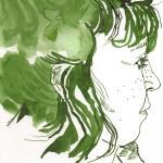 Selbst von der Seite - Zeichnung von Susanne Haun - 20 x 20 cm - Tusche auf Bütten