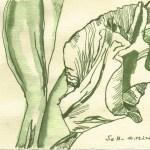 Gladiolenblüte - Zeichnung von Susanne Haun - 15 x 20 cm - Tusche auf Bütten