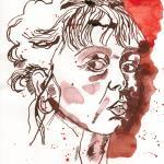 Selbst nach einem langen Tag - Zeichnung von Susanne Haun - 20 x 20 cm - Tusche und Aquarell auf Bütten