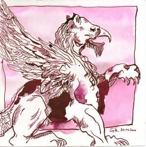 Der starr blickende - Drachen - Zeichnung von Susanne Haun - 20 x 20 cm - Tusche auf Bütten