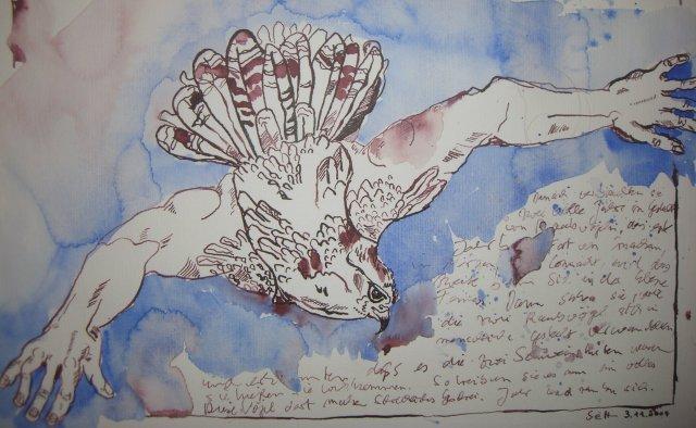 Falkenmensch - Zeichnung von Susanne Haun