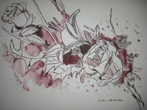 Herbstblumenstrauß - Zeichnung von Susanne Haun - Tusche auf Bütten - 30 x 40 cm