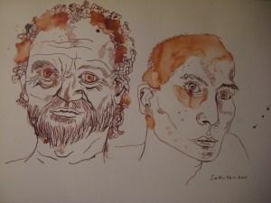 Cassius und Florentius - Zeichnung von Susanne Haun - 30 x 40 cm - Tusche (persisch rot) auf Bütten