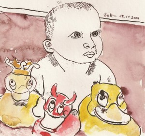 Melvin im Bade - Zeichnung von Susanne Haun - Tusche und Aquarell auf Bütten - 20 x 20 cm