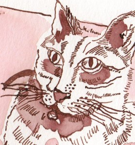 """Ausschnitt """"Süße"""" - Zeichnung von Susanen Haun - 18 x 25 cm - Tusche auf Bütten"""
