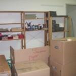 Meine Regale und Kisten in ihrer neuen Heimat in der Kurfürstenstraße