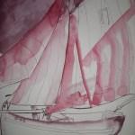Entsteheung K-02 Boot, 2.Version - Zeichnung von Susanne Haun - 34 x 22 cm Tusche auf Bütten