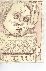 Säulenkopf - Zeichnung von Susanne Haun - 20 x 15 cm - Tusche auf Bütten