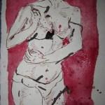 Akt auf rot - Zeichnung von Susanne Haun - 20 x 15 cm - Tusche auf Bütten