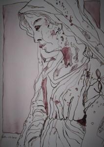 Engel Friedhof Liesenstraße - Zeichnung von Susanne Haun - Tusche auf Aquarellkarton - 36 x 24 cm