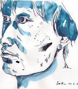 Leon - Zeichnung von Susanne Haun - 20 x 30 cm - Tusche auf Bamboo