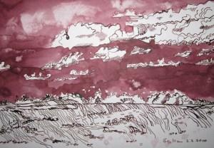 Tsunami - Zeichnung von Susanne Haun - Tusche auf Bütten, 20 x 25 cm