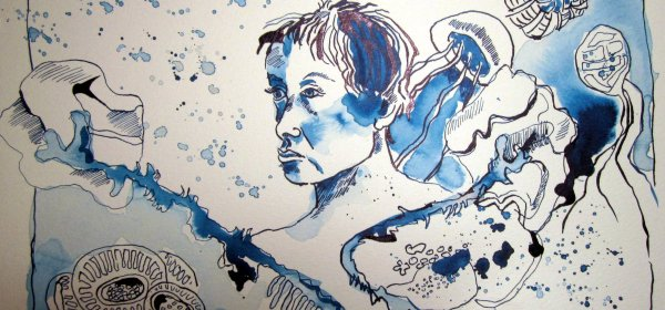 Anawak schwebte in einer fremden Welt - Zeichnung von Susanne Haun - 24 x 32 cm - Tusche auf Bütten