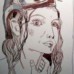 Amazone Medb - Zeichnung von Susanne Haun - 30 x 20 cm - Tusche auf Bütten
